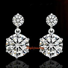 Solid 925 Sterling Silver Swarovski Lab Diamond Bridal Wedding Earring IE91