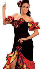 Rumba Lady Woman Spanish Salsa Flamenco Mexican Dancer Fancy Dress 10 12 14