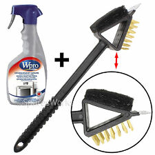 BBQ Scraper Wire Brush 3in1 Hand Tool + Barbeque Degreaser Cleaning Spray 500ml