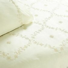 Amelia Embroidered Duvet Quilt Cover Bedding Set Cream Single