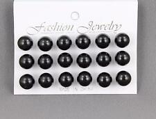 9 pair Black faux pearl earrings big bead ball stud post earrings set pack