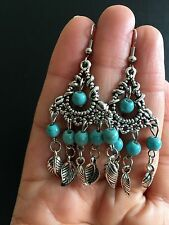 Earrings  Silver Turquoise Hippie Ethnic Boho Festival Tribal Gypsy