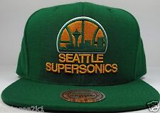 Mitchell & Ness Seattle SuperSonics Vintage Solid Wool HWC Snapback Hat Cap NBA