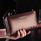 Mens Real Leather Business Clutch Wrist Handbag Organizer Briefcase Wallet Purse