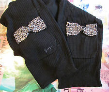 NEW Juicy Couture Scarf Vanderbilt Crystal Bows Pockets Black Knit