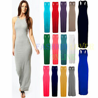 Women Lady Muscle Back Plain Long Summer Vest Racer Maxi Dress Plus Size UK 8-26