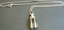 collier MONTBLANC chaine pendentif argent massif 925 / pierre noire