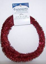 "Red Wired Tinsel Garland 3/4"" x 5 Yards Floral, Holiday Decor, Wedding"