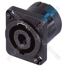 Neutrik Black Coloured Nickel Plated NL4MP 4 Pole Male Speakon Chassis Connector