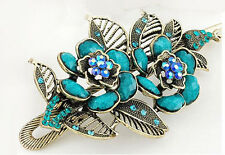 Vintage Style Amazing Bronze & Turquoise Blue Flower Hair Clip Accessories HA128