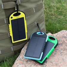 Solar Power Bank Battery Charger Waterproof USB Yellow 3000mAh