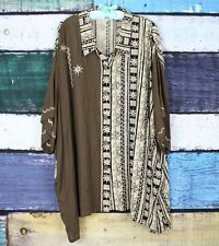 BOP Brown Tan Tribal African Crinkle Rayon Artsy Lagenlook Blouse Top Tunic 4X