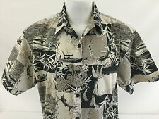 Aftco Bluewater Mens Hawaiian Aloha Shirt Black/Gray Cotton Deep Sea Fishing L