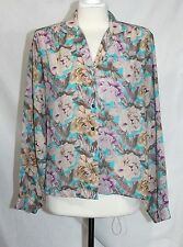 Shapely - 12 (L) - Vintage 80's -Pastel Multi-Color Semi-Sheer Polyester Blouse