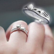 Silver Plated Elegant Cat Kitten Open Ring Cat Kitten Jewelry Ring Korean Style