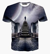 "Fashion ""Man toward Galaxy Space"" 3D Print Funny T-shirt Men Women Casual XXL"