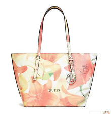 NWT GUESS Delaney Classic Tote Handbag Purse Floral print Coral pink