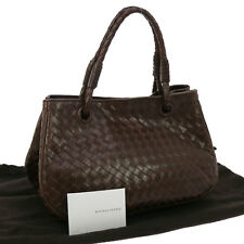 Authentic BOTTEGA VENETA Intrecciato Hand Bag Dark Brown Leather Vintage JT04778