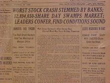 VINTAGE NEWSPAPER HEADLINE ~NEW YORK 1929 WALL STREET STOCK MARKET CRASH~