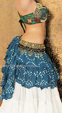 Teal Jaipur Wrap or Bustle Skirt Gypsy Tribal Fusion Belly Dancel ATS FAE