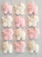 12 pink & white baby girl pram pushchair cupcake cake toppers christening shower