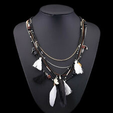BOHO Vintage Feathers Women Pendant Choker Statement Collar Bib Necklace Chain