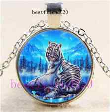 Moonlight White Tiger Cabochon Glass Tibet Silver Chain Pendant Necklace