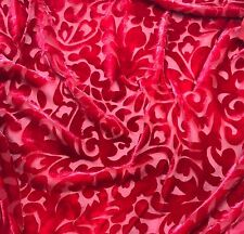 "Hand Dyed Burnout Silk VELVET Fabric CHERRY RED SCROLL 9""x22"" remnant"