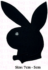 playboy black iron sew on bunny with bow  embroidered badge applique # 190