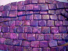 Turquoise Purple Hand Cut Square beads 18 by 13 mm 16 inch starnds