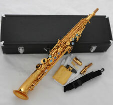 Pro.Gold Mercury Soprano Saxello saxophone High F# G Sax Curved Bell ABALONE Key