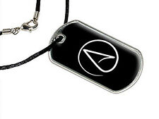 Atheism Symbol - Atheist - White on Black - Dog Tag Black Satin Cord Necklace