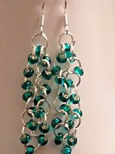 Beautiful Teal Green Cz Glass seed Beaded chainmaille earrings Sterling Silver
