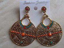 Boucles d'oreilles bobo bohème chic ethnique orange turquoise or ladydjou 1