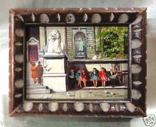 """Very Detailed Oil Painting """"Museum Entrance"""" w/ Wooden Carved Vintage Frame 5x6"""""""