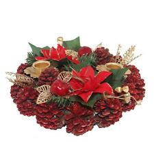 Premier Christmas Table Decoration 20cm Dressed Candle Ring - Red