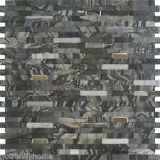 Sample-Stainless steel Insert Marble Stone Black Gray Mosaic Tile Kitchen Pool