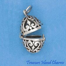 EASTER EGG 3D .925 Sterling Silver LOCKET VINAIGRETTE POISON PENDANT PRAYER BOX