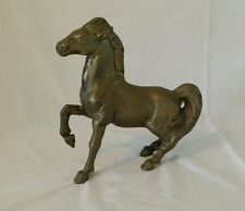 Beautiful Large Heavy Vintage Brass Horse Statue Old Patina Weighs 7 Pounds