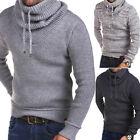 Herren Pullover Grobstrick Pulli Sweatshirt Schwarz/Grau/Weiß Strick-Jacke NEU