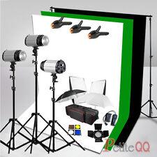 900W Flash Kit Photo Studio Black/White/Green Background + Backdrop Stand Set