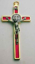 St Benedict Crucifix 24kt Gold Plate Enamel - Red 4.5""