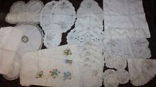 Lot of Vintage Tablecloths, Linen Placemats, Embroidered Tablecloth, Doily etc
