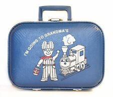Vintage Child's Suitcase BLUE Going to Grandma's -BOY TRAIN -Immaculate Interior