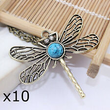 10 Wholesale Joblot Vintage Rhinestone Dragonfly Pendant Necklace Carboot Market