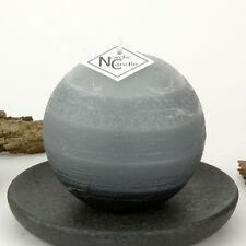"""Gray Ball Candle 3"""" - Rustic Grey Sphere - Striped Round Pillar by Nordic Candle"""