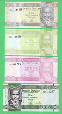South Sudan 5, 10, & 25 Piasters & 1 PoundNote P-1, P-2, P-3 & P-5  UNCIRCULATED