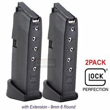 Glock Model G43 Magazine 9mm 6 Round with Grip Extension NEW Lot of 2