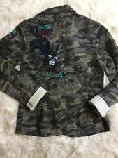 Morbid Threads Camo Jacket  Studded Embroidered Grunge Rocker SZ L