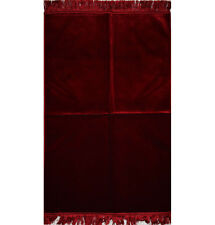Turkish Islamic Prayer Rug Janamaz Sejadah Plush Velvet Solid Red